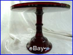 10 Pedestal Plain & Simple Cake Plate Dark Ruby Red Glass Pastry Salver