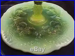 11 Pedestal Inverted Thistle Cake Plate Vaseline Opalescent Pastry Plate Salver