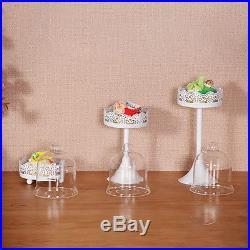 12Pcs Crystal White Round Cake Stand Pedestal-Dessert Holder Party Wedding Decor
