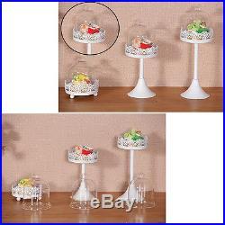 12Pcs Crystal White Round Cake Stand Pedestal Dessert Holder Party Wedding Decor