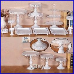 12Pcs Set Antique Cup Cake Stand Crystal Pedestal Plate Wedding Platform Vintage