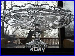 12-1/2 Pedestal Cake Stand Plate, cut etch glass Crystal Bohemian hobstar roses