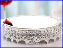 12 Inch Crystals Cake Stand Round Plate Metal Dessert Cupcake Pedestal Display