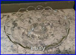 13 Princess House Heritage Etched Glass Pedestal Cake Plate & Dome Cover #045