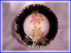 1800s HAVILAND LIMOGES FRANCE COBALT BLUE ORCHID PEDESTAL CAKE PLATE RAISED GOLD