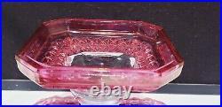 1883 Campbell Jones EAPG Square Diamond RARE RUBY FLASH Pedestal Cake Plate