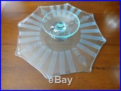 1924 Westmoreland Glass AQUAMARINE Octagon Pedestal SALVER Cake Plate Wheel CUT