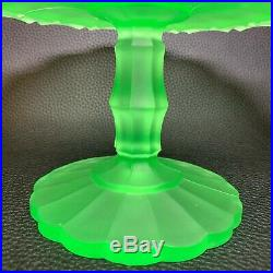 1930s Art Deco Uranium Vaseline Pressed Glass Frosted Wedding Cake Dish Pedestal