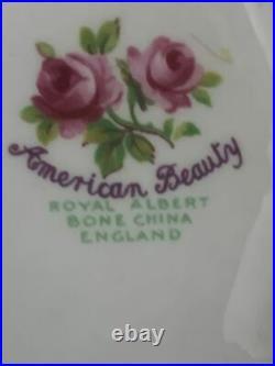 1940s Royal Albert American Beauty Rose Pedestal Cake Platter Plate RARE