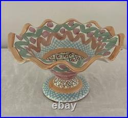 1993 MacKenzie-Childs Heather 12 Pedestal Cake Stand Plate Ruffled Retired