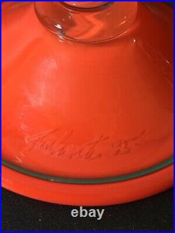 1995 SIGNED PINKWATER ART GLASS Cake Plate Appetizer Pedestal Stand FUNKY 90s