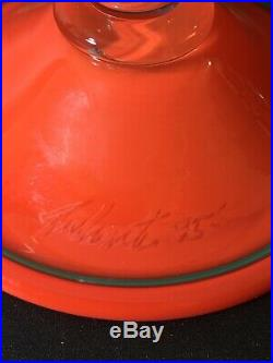 1995 SIGNED PINKWATER ART GLASS Cake Plate Appetizer Pedestal Tray Stand Dome