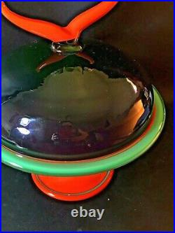 1995 Signed PINKWATER ART GLASS Cake Plate Appetizer Pedestal Stand VTG 90s