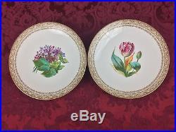 19th Century Staffordshire Brownfield 2 Tulip Lilac Pedestal Cake Plates Tazzas