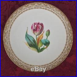 19th Century Staffordshire Brownfield 2 Tulip Lilac Pedestal Cake Plates Tazzas