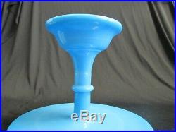 1x DELPHITE BLUE CAKE PLATE PEDESTAL STAND Martha Stewart By Mail 10.5 w Round