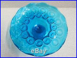 1x Moon & Stars COLONIAL BLUE ROLLED EDGE CAKE PLATE PEDESTAL STAND LE SMITH