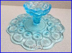 1x Moon & Stars Glass LIGHT BLUE CAKE PLATE PEDESTAL STAND LG Wright Fenton