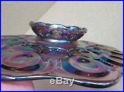1x Moon & Stars Glass Weishar AMETHYST Purple CARNIVAL CAKE PLATE PEDESTAL STAND