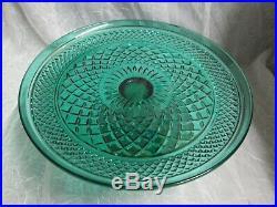 1x WEXFORD Glass Emerald Teal Aqua Green CAKE PLATE PEDESTAL STAND Orig Box