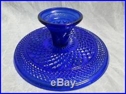 1x WEXFORD Pattern Glass COBALT BLUE CAKE PLATE PEDESTAL STAND No Dome Vintage