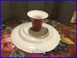 222 Fifth Gabrielle Red Pedestal Cake Plate 10 7/8 Diameter 4 3/4 High