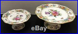 2 Ant Dresden Carl Thieme Pedestal Cake Plate Comport Stand Reticulated
