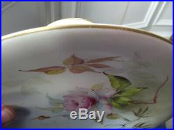 2 Hand Painted Royal Worcester Pedestal Cake Plates Compote Pink Roses 1911 No. 3