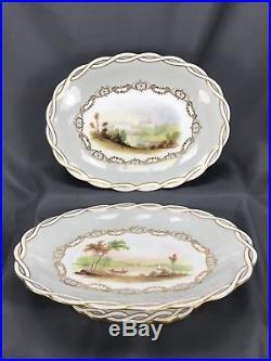 (2) Minton English Oasis & Castle Scene Woven Pedestal Cake Plates 1852 (A667)