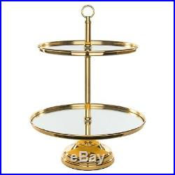 2 Tier Gold Plated Mirror Cake Stand Round Chrome Metal Wedding Display Pedestal