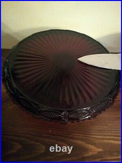 (2)Vintage Avon 1876 Cape Cod Ruby Red Glass Pedestal Cake Plate Stand Server