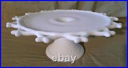 30's RARE Fenton Satin Custard Milk Glass Lattice Crisscross Cake Plate Pedestal