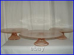 3 Pink Glass Cake Plates/3 Tier Pedestal Stand Depression