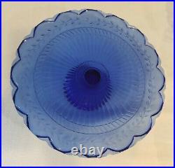3 Tier Footed Cobalt Blue Glass Laurel Leaf Cake Plate Pedestal Stand 9 10 12
