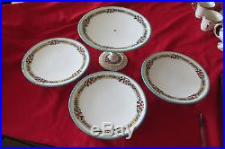 4 Each Vintage English Hand Painted Pedestal Cake Plates (b2608)