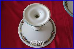 4 Each Vintage English Hand Painted Pedestal Cake Plates (b2608)