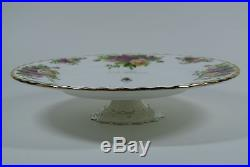 4-pc Royal Albert Old Country Roses Metal Pedestal Cake Plate Sauce Bowl 112614