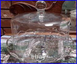 70's Princess House Heritage Hand Blown Crystal Pedestal Cake Plate-GORGEOUS