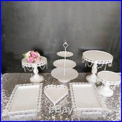 7Pcs Round Heart Cake Stand Pedestal Moroccan Dessert Holder Party Weddin New