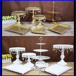7Pcs Round Heart Cake Stand Pedestal Moroccan Dessert Holder Party Wedding Decor
