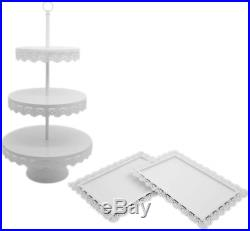 8 Inch / 10 Inch / 12 Inch Lace Cake Plate Iron White Cake Stand Round Pedestal