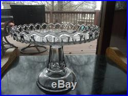 9 PEDESTAL CAKE STAND Plate Bakery SALVER EAPG Antique 1800's Lace Crochet edge