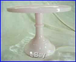 9 Pedestal Plain & Simple Cake Plate Pink Milk Glass Salver Crown Tuscan