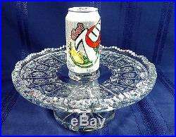 ABP Cut Crystal Pedestal Cake Plate 11 1/4 inch Compote 7 lb. 11 oz. Tray