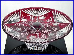 AJKA Impressive RUBY CUT TO CLEAR CRYSTAL GLASS PEDESTAL CAKE PLATE STAND 13