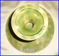 ANTIQUE MAJOLICA PEDESTAL CAKE PLATE GREEN LEAF YELLOW BASKET WEAVE 9 x 5 TALL