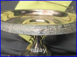 Art Nouveau Toronto Silver Plate Pedestal Cake Pie Stand Swing Handle Quatrefoil