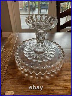 Adams & Co Jacobs Tears Glass Tear Drop Cake Plate Pedestal Stand 1889 Antique