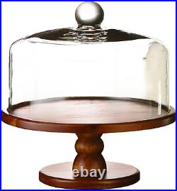American Atelier, Brown Madera Pedestal Plate With Lid Domed Serving Cake S