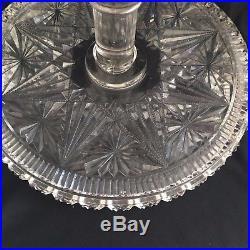 American Brilliant EAPG Belmont Globe & Stars 9 Cake Stand Salva Pedestal Plate